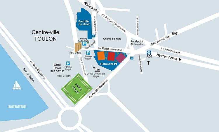 Plan d'Accès Hôtel IBIS - Bâtiment Pi UTLN